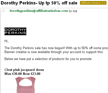 Example: Dorothy Perkins Affiliate Email