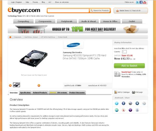 eBuyer Item Details Page