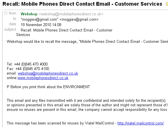 MobilePhonesDirect Recall Request