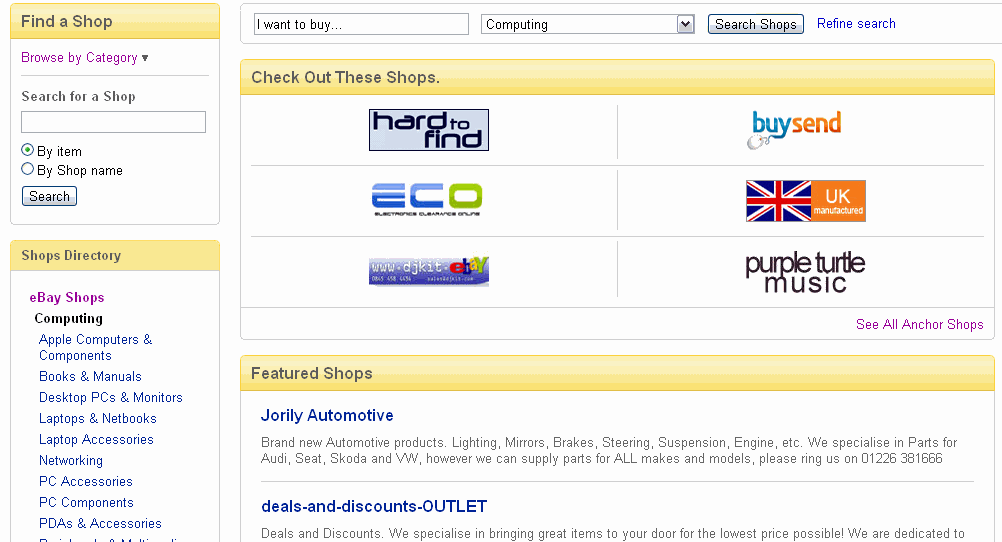 ebay shops directory anchor shops