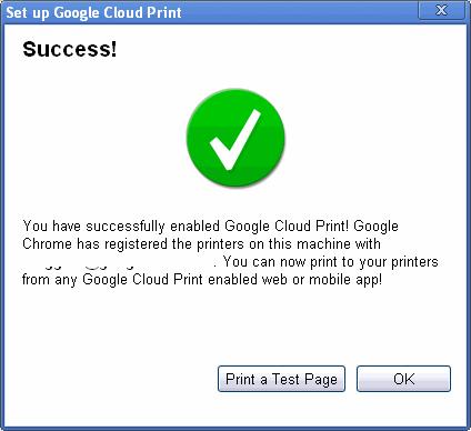 Google Cloud Print Success