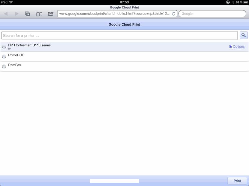 Google Cloud Print on the iPad