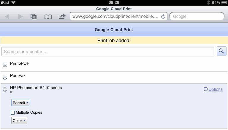 Google Cloud Printing - Queue