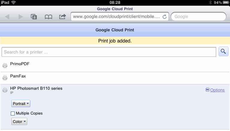 Google Cloud Printing - Queue