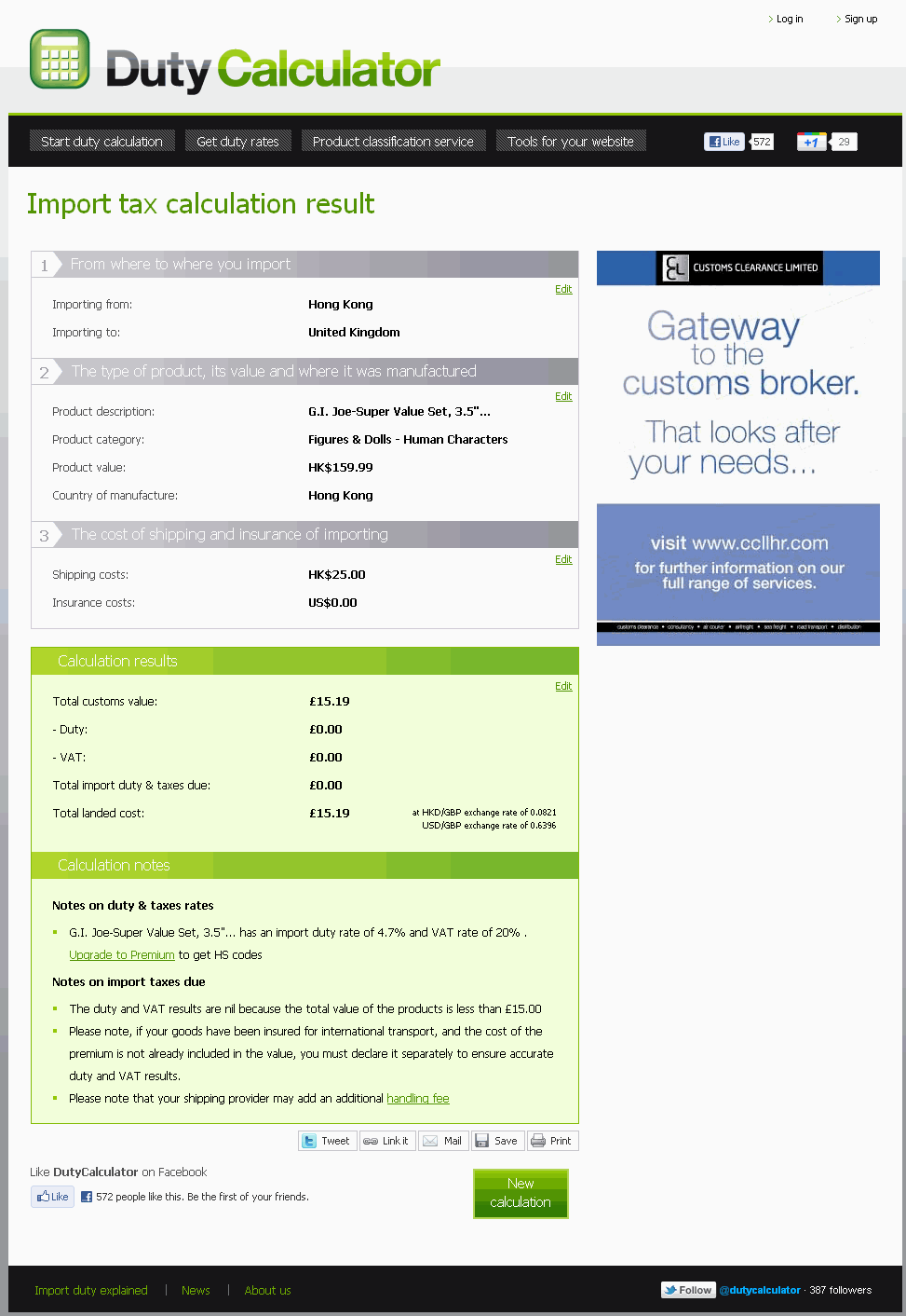 eBay Import duty calculator