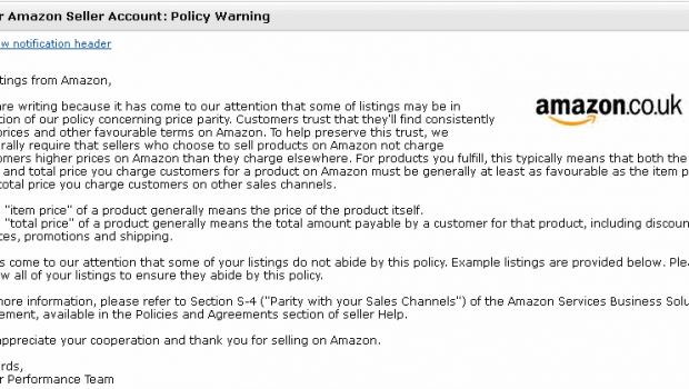 Amazon Price Parity Warning Email