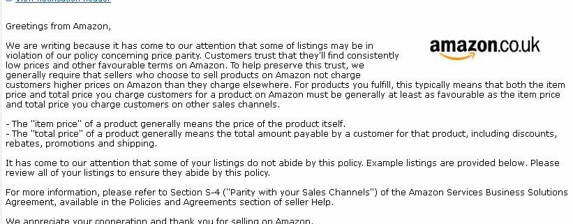 Amazon Price Parity Warning Email