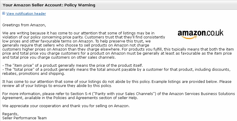 Have You Received A Price Parity Policy Warning From Amazon Price