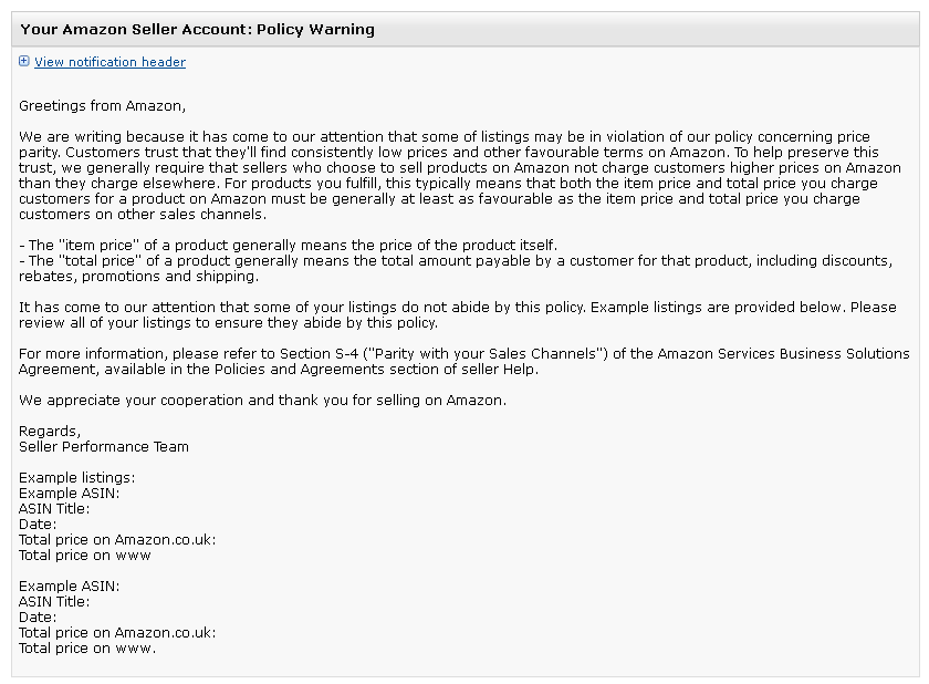 Amazon Policy Warning Price Parity Email