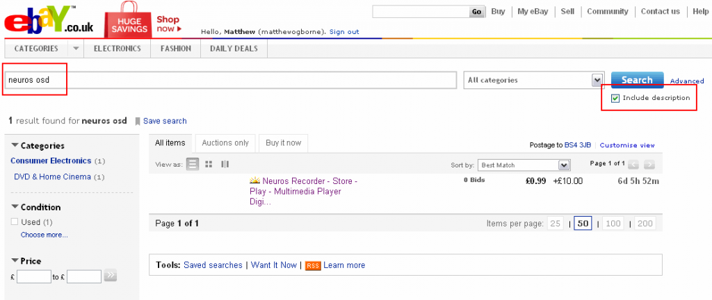 eBay Saved Search 1