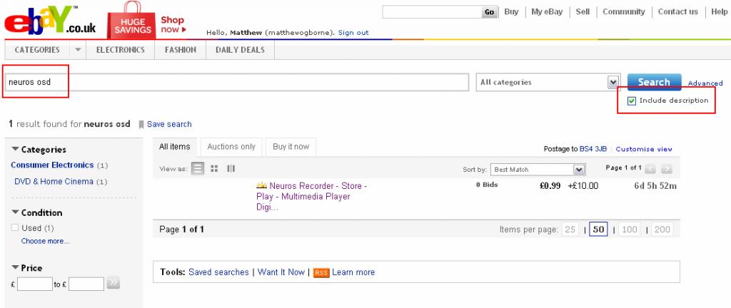 eBay Saved Search 1