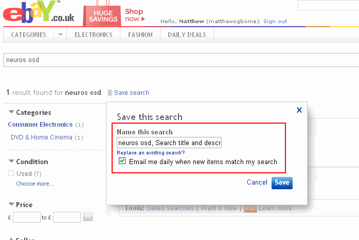 eBay Saved Search - Name the Search
