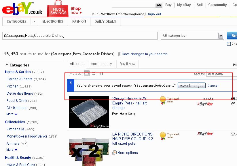 Editing a Saved eBay Search