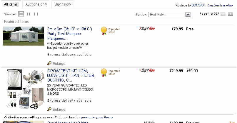 Standard List View of eBay Search Results