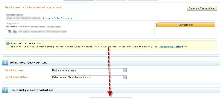 Amazon Contact Seller Form