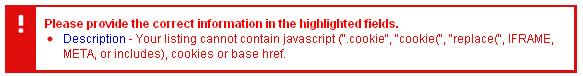 eBay Javascript Warning