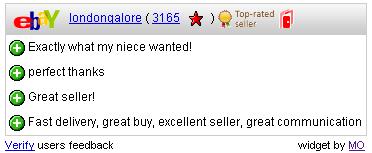 eBay Free Feedback Widget Example
