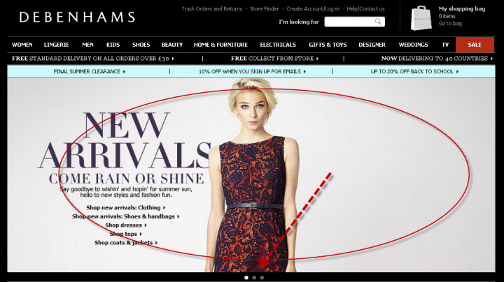 jQuery Example on debenhams