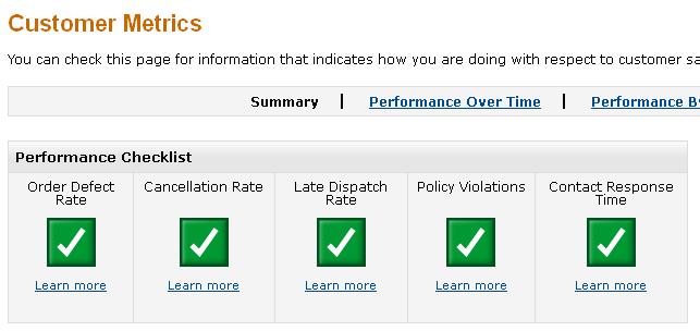 Amazon Customer Metrics Screen Shot