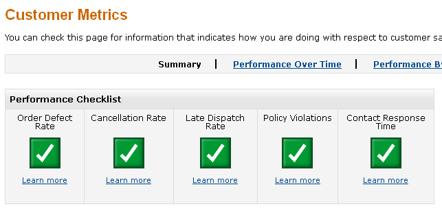 Amazon Customer Metrics Screen Shot
