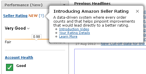 Amazon Seller Ratings Dashboard Widget