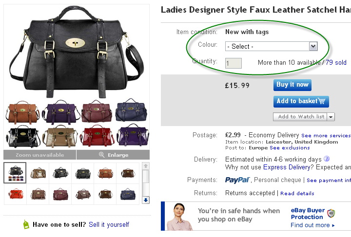 eBay Variations Example
