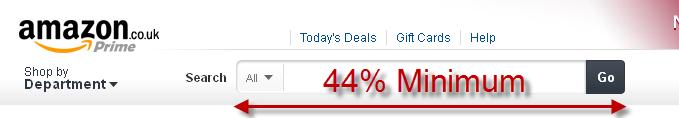 Amazon Search box 44 Percent Wide