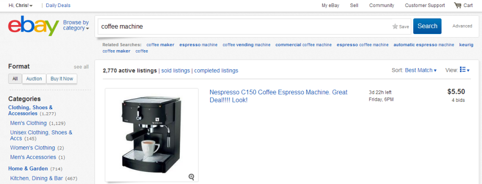 The New eBay List view