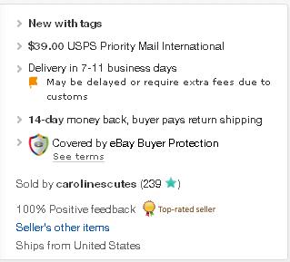 eBay item details card