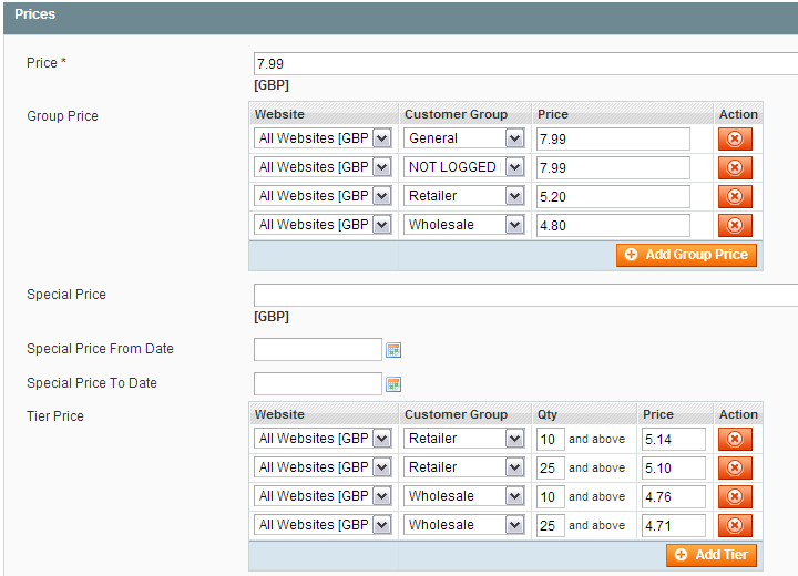 Magento Pricing  Groups and Tiers