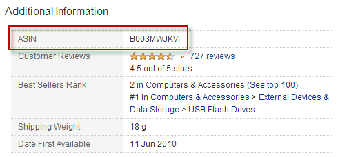 An ASIN in the Amazon product page