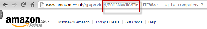 An ASIN in the Amazon URL for a product