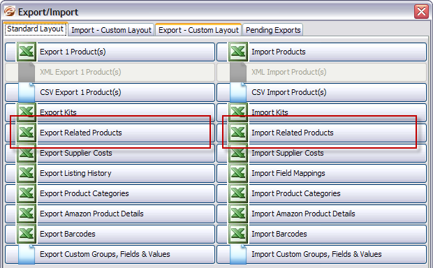Importing and exporting related & similar products in eSellerPro