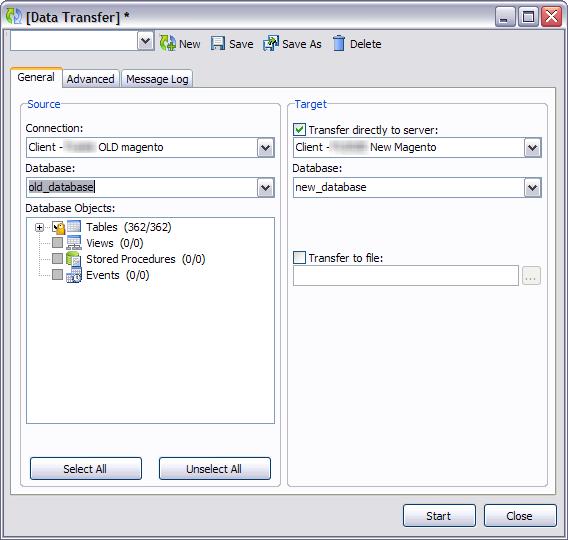 Magento database transfer with navicat