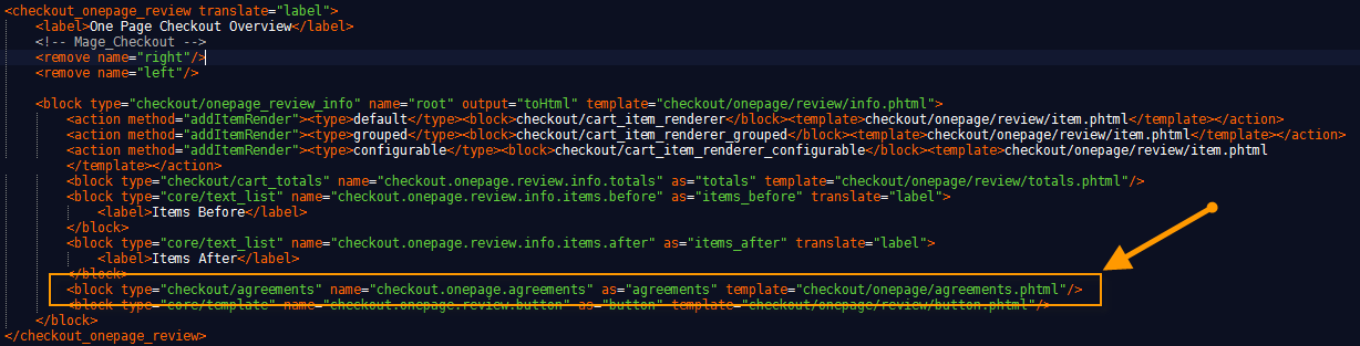 Add line to checkout xml file for order comments