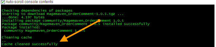 Magento cache cleared successfully