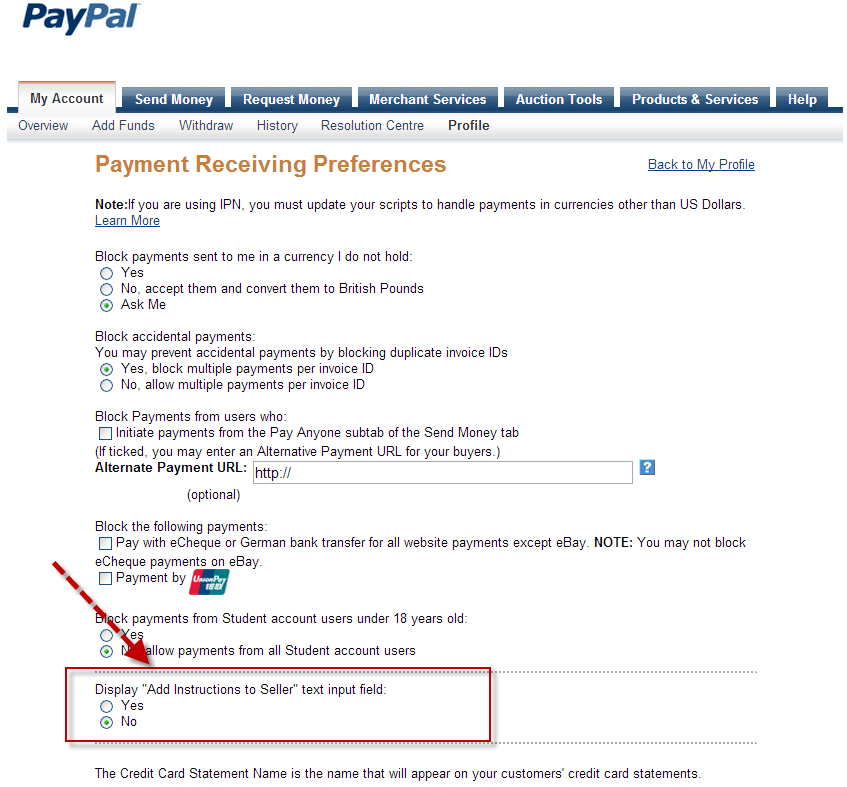 PayPal Express Disable Customer instructions to seller