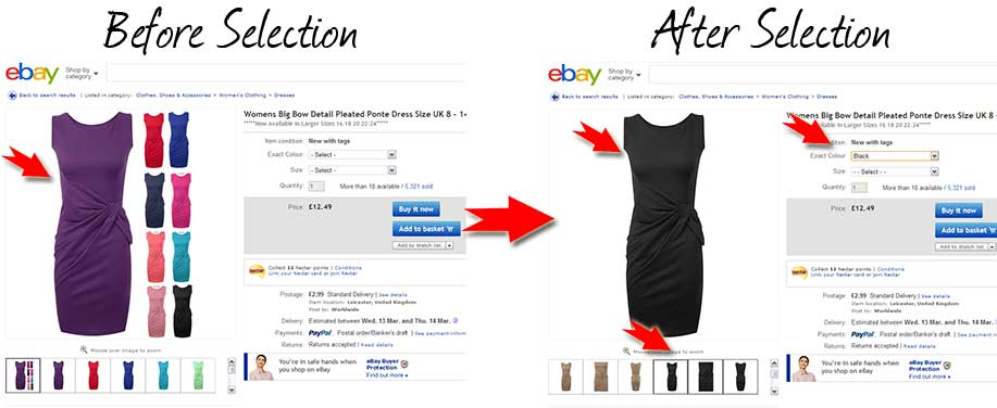 eBay swaps images on colour selection