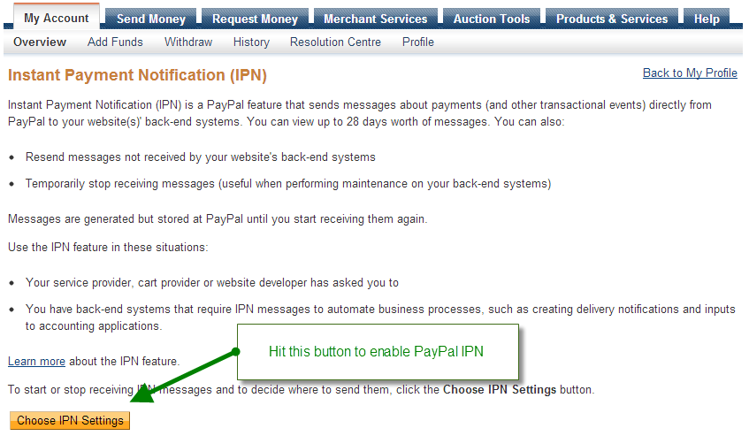 Paypal IPN for Magento Step 3