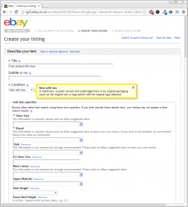 Listing a Product onto eBay