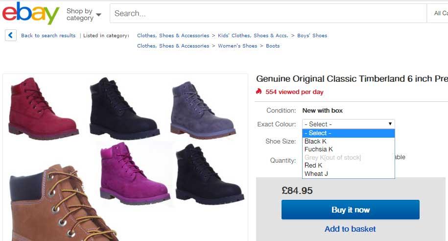eBay Custom Options