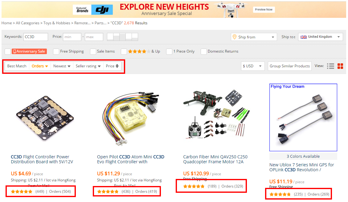 Aliexpress Search by order Count