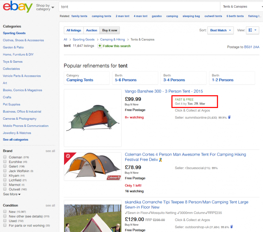 Inconsistant eBay delivery ETAs in the search results