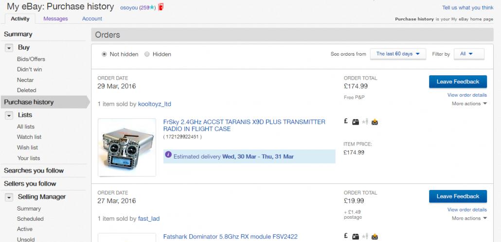 My eBayPurchase history