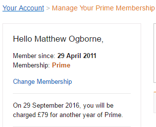 Your Amazon Prime Membership