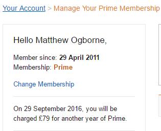 Your Amazon Prime Membership
