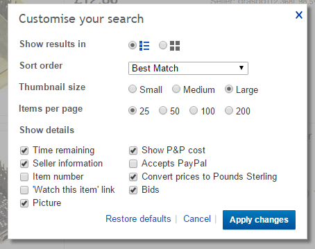 The Hidden eBay Customise your search options