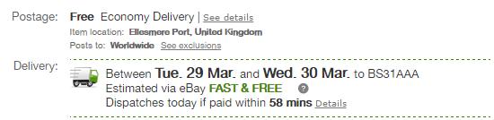 eBay listing shipping eta