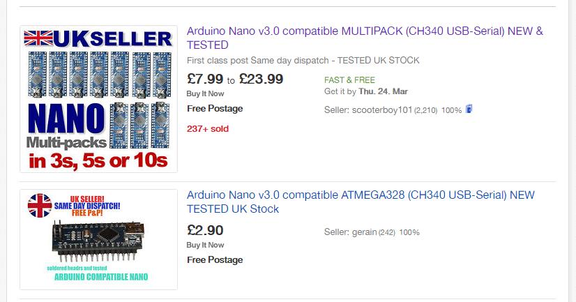 Standard eBay search result