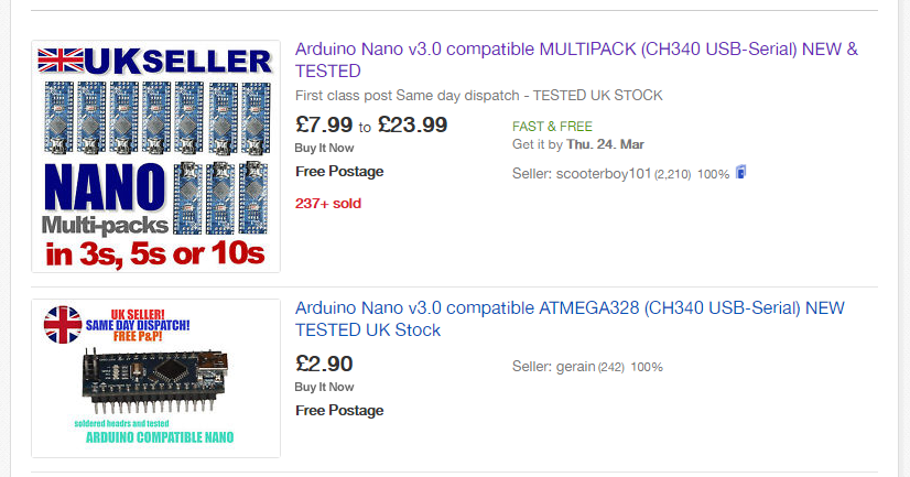 Standard eBay search result